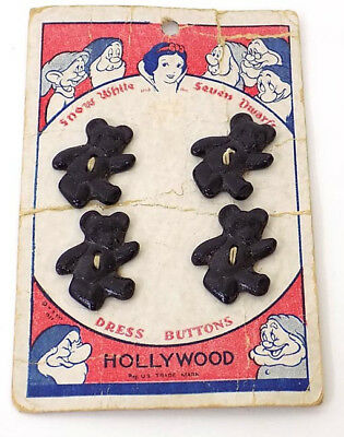 Card of Snow White & 7 Dwarfs Teddy Bear Dress Buttons Disney Hollywood c.1937
