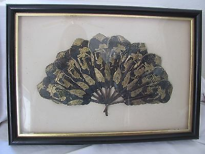 Shadowbox framed black gold antique fan animal hide