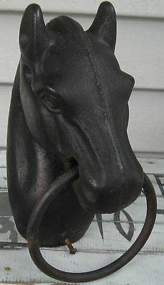 Antique Heavy Iron Fence Post Horse Head W/ring Saratoga Ny Find