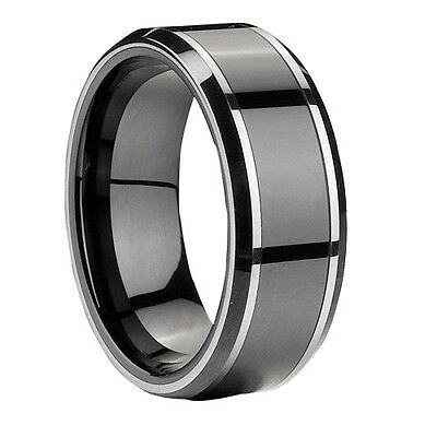 Tungsten Carbide Gery Men Wedding Band Wedding Ring Never Tarnish M1