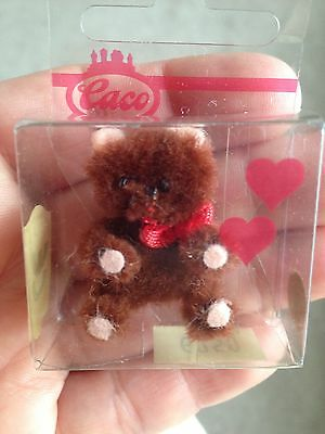 "Tiny Dollhouse Detailed Miniature Chenille Posable BROWB Bear 1.5"" New CACO NR"