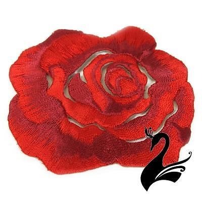 Motif Iron-on Small Floral Rose Applique Style #3895 - Red - Craft Millinery DIY
