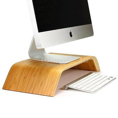 Computer Monitor Stand Bamboo Dock Holder Display Bracket for Mac PC Laptop
