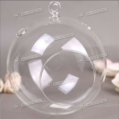 6 X Clear Hanging Glass Baubles Ball Candle Tealight Holder Wedding Decor