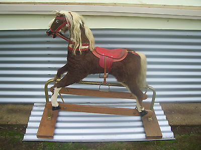 Rare Vintage Australian Hodak Toys Hide Covered Wooden Child's Rocking Horse