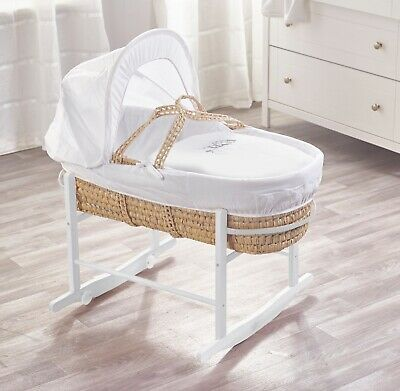 Sleep Owl White Palm Moses Basket and White Rocking Stand