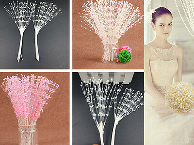 100Pcs Spray Pearl Beads Wire Stems Bridal DIY Wedding Bouquet Home Craft Play