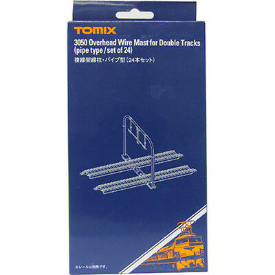 TOMIX N Scale : 3050 Overhead Wire Mast for Double Tracks (pipe type/set of 24)
