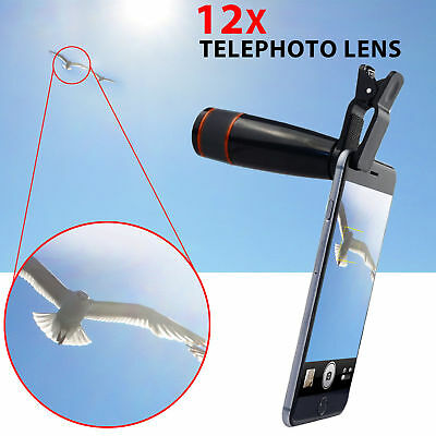 12X Zoom Clip Phone Telephoto Telescope Camera Lens for Samsung iPhone LG HTC