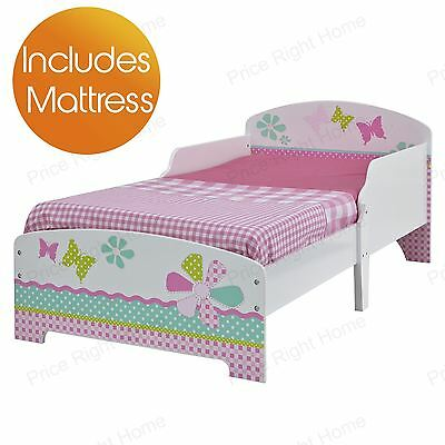 Girls Pretty & Pink Patchwork Toddler Bed & Mattress