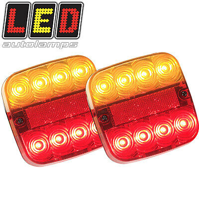 Pair Led Square Trailer Tail Stop Indicator Lights Lamps + Number Plate 99Arl2