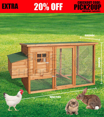 LARGE Chicken Coop Rabbit Hutch Ferret Cage Hen Chook  Guinea Pig  House