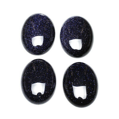 Pack of 2 x Blue Goldstone 13 x 18mm Oval-Shaped Flat-Backed Cabochon CA16668-4