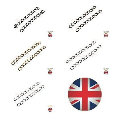 50 x Extender Chain 5.5 x 4mm Links Extended 50mm Length Silver Gold Plated ML