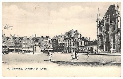 Bruges - La Grand'Place - early Belgium postcard, undivided back
