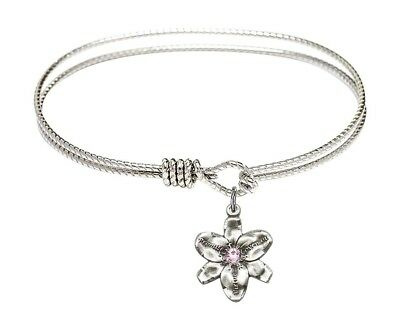 Silver Tone Bangle Bracelet with June Birthstone Chastity Flower, 6 1/4 Inch