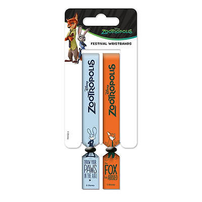 Zootropolis Pack Of 2 Festival Wrist Bands Zootopia Rabbit Fox Judy Nick Paws