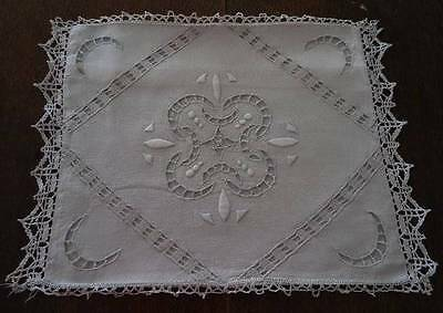 Antique Linen Pillowcase Sham Needle Lace Cutwork Embroidery 12 x 14