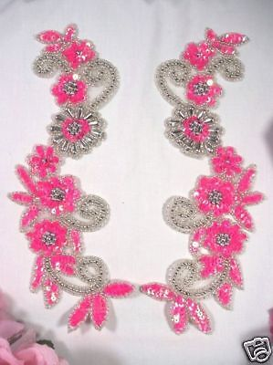 "APPLIQUES SILVER BEADED SEQUIN MIRROR PAIR Costume Patch Supplies 7.75/"" 0422"