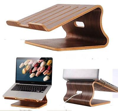 SamDi Walnut Wood Wooden Laptop Cooling Stand Holder Dock Tray for Macbook Air