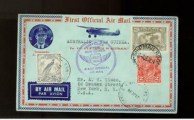 1934 Australia to New Guinea FFC First Flight Cover