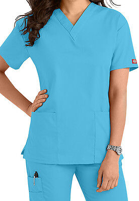 7e36f7a279e Dickies Medical Scrub EDS Signature Icy Torquoise Two Pocket Top Sz XS-XXL  NWT