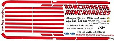 Ramchargers 1963-64 Dodge 330 1/25th - 1/24th Scale Waterslide Decals