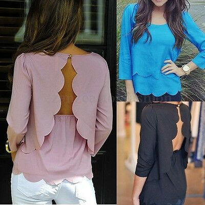 New Women Ladies Backless Sexy Bodycon Long Sleeve Casual Top Blouse Shirt Tee