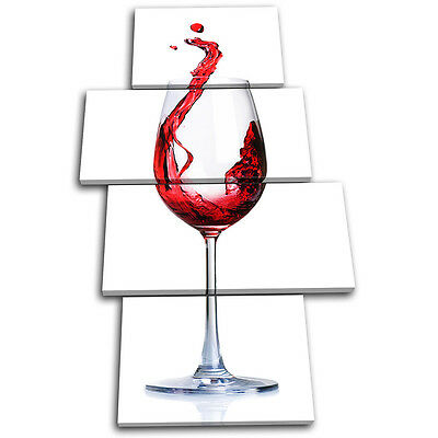 Red Wine Glass Splash Kitchen Dining Room Conceptual Abstract Canvas Art Print