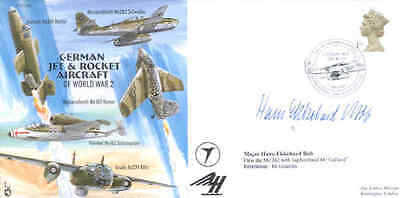 CC68 German Jet ME262 RAF cover signed WWII WW2 Luftwaffe Fighter Ace BOB KC