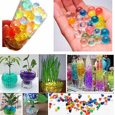500pcs Colorful Jelly Crystal Mud Soil Water Beads Pears Balls Gel Decor New