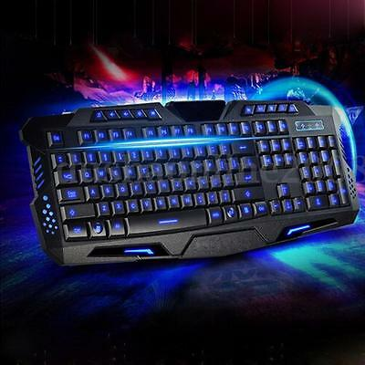 LED Clavier Jeux Lumineux Filaire USB Gaming Wired Keyboard Pr Desktop PC Gamer