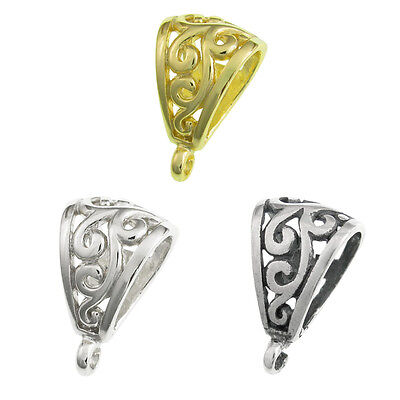 Bali Sterling Silver/ 14k Gold on SS FLOWER Bail CLASP Pendant Slide Connector