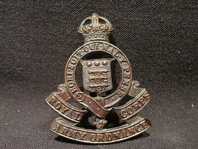 Royal Army Ordnance Corps WWII British Army Officer's Cap Badge with Tangs
