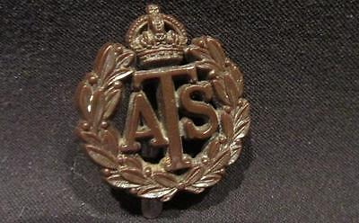 Auxillary Territorial Service WWII British Army Chocolate Brown Plastic Cap Badg