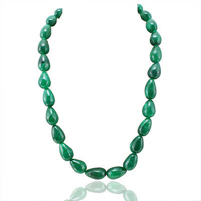 453.00 CTS EARTH MINED PEAR SHAPED RICH GREEN EMERALD FACETED BEADS NECKLACE