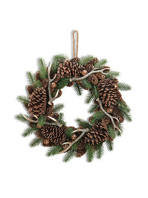 Abbott Collection Large Pine with Antler Wreath, 19""