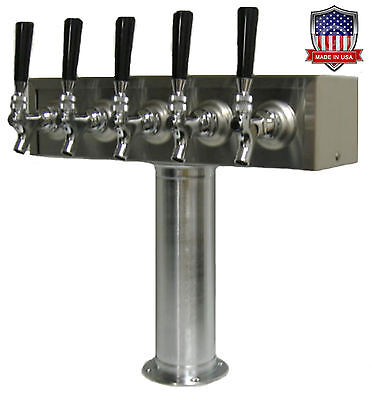 Stainless Steel Draft Beer Tower Made in USA - 5 Faucets - Air Cooled -TT5CR-