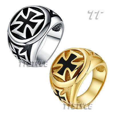 Top Quality TT 316L Stainless Steel Cross Punk Ring Silver/Gold (RZ17)Size 8-14
