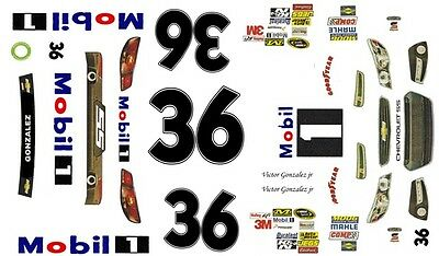 #36 Victor Gonzalez jr Mobil 1 2013 Chevy 1/25th - 1/24th Scale WATERSLIDE DECAL
