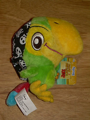 "NWT 2012 Disney Junior JAKE & THE NEVER LAND PIRATES 5"" Plush SKULLY Parrot Doll"