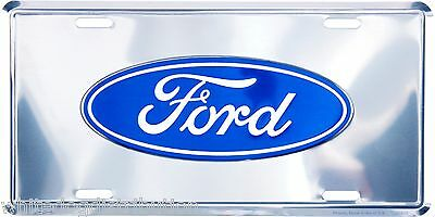"Ford Oval Logo Chrome 6"" x 12"" Embossed Metal License Plate Tag"