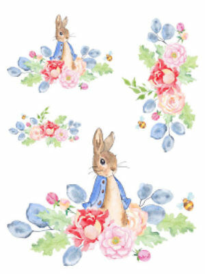 Shabby Nursery Baby Peter Rabbit Bunny Roses Watercolor Waterslide Decals AN769