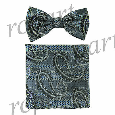 Men's Pre-tied Bow Tie & hankie set paisley black gray wedding party prom