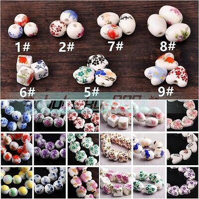 10pcs Flowers Patterns Porcelain Ceramic Charms Loose Beads 10mm/12mm/15mm/18mm