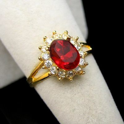 Vintage Cocktail Ring Red Oval Glass Stone Rhinestones Solitaire Size 7