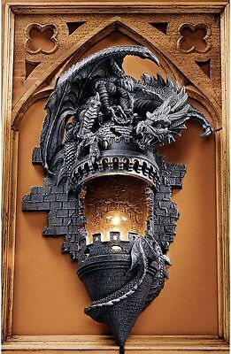 Medieval Gothic Stone Fearsome Dragon Castle Wall Sculpture Home Decor New