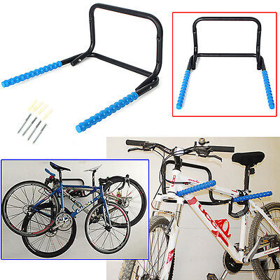 Bicycle Wall Mounted Folding Steel Bike Storage Rack Hook 2 Bikes Shed Garage UK