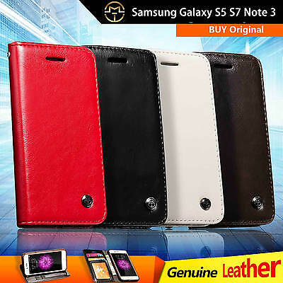 Genuine Leather Wallet Case Cover For Samsung Note3 N9000 N9005  S5 i9600 S7