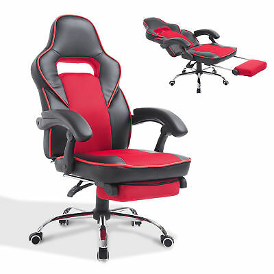 HOMCOM Race Car Style High Back PU Leather Reclining Office Chair W/ Footrest